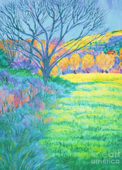 Copy Of Tree In Field Acrylic Painting Greeting Card featuring the digital art Tree in Field Painting by Annie Gibbons