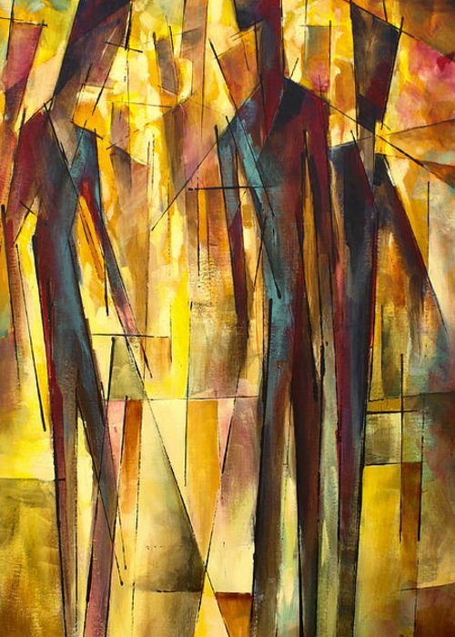 Figurative Greeting Card featuring the painting ' Untitled ' by Michael Lang