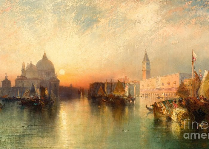 Venice Greeting Card featuring the painting View Of Venice by Thomas Moran