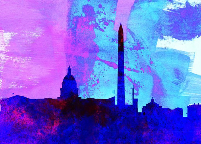 Washington Dc Greeting Card featuring the painting Washington Dc City Skyline by Naxart Studio