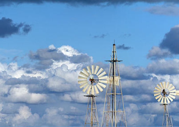 Alternative Greeting Card featuring the photograph Water Windmills by Stelios Kleanthous