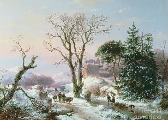Winter Greeting Card featuring the painting Wooded Winter River Landscape by Andreas Schelfhout