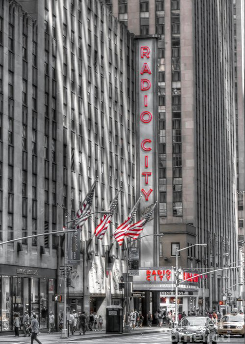 New Greeting Card featuring the photograph 0007 Radio City Music Hall by Steve Sturgill