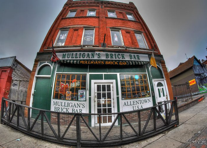 Allentown Greeting Card featuring the photograph 001 Mulligans Brick Bar by Michael Frank Jr