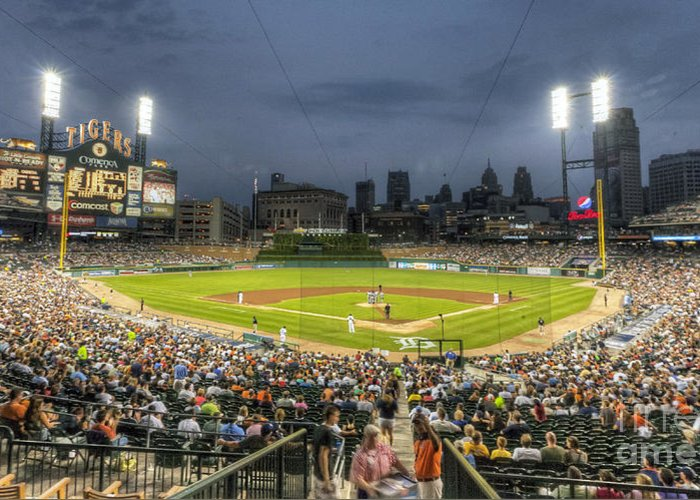 Comerica Greeting Card featuring the photograph 0101 Comerica Park - Detroit Michigan by Steve Sturgill