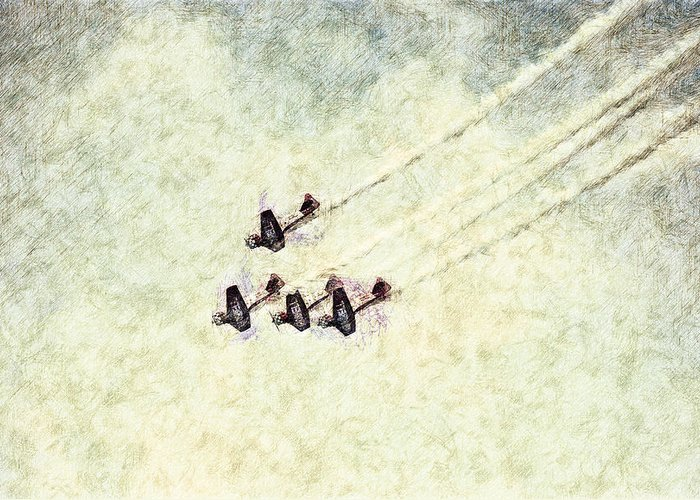 Chicago Greeting Card featuring the digital art 0161 - Air Show - Colored Photo 2 Hp by David Lange