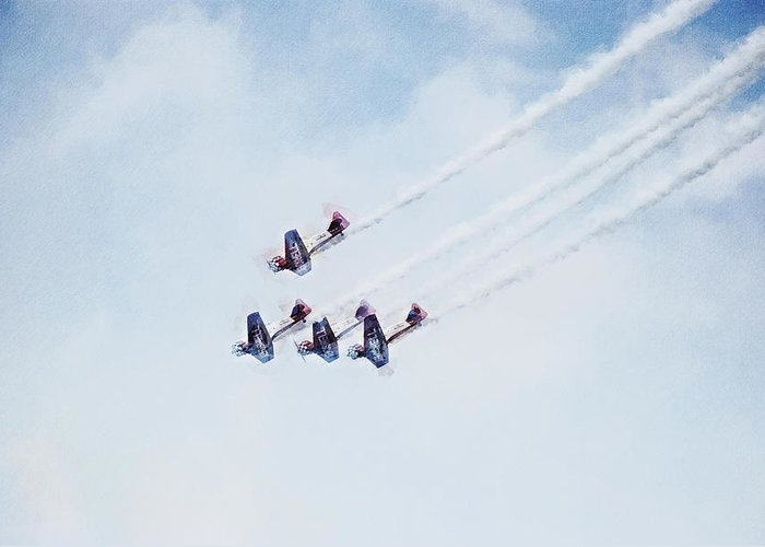 Chicago Greeting Card featuring the digital art 0161 - Air Show - Neo Hp by David Lange