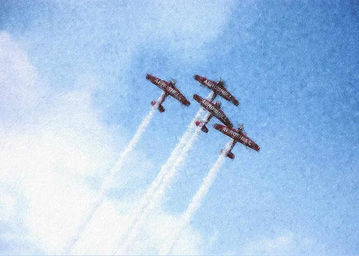Chicago Greeting Card featuring the digital art 0166 - Air Show - Pastel Chalk 2 by David Lange