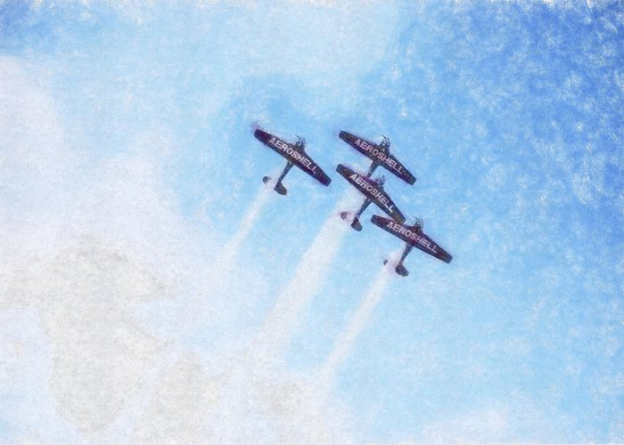 Chicago Greeting Card featuring the digital art 0166 - Air Show - Synchro by David Lange