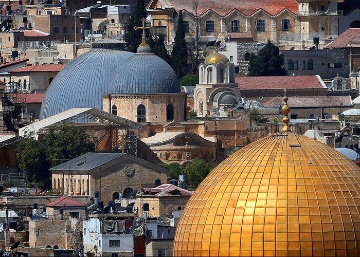 Old City Greeting Card featuring the photograph 019 Jerusalem by Alex Kolomoisky