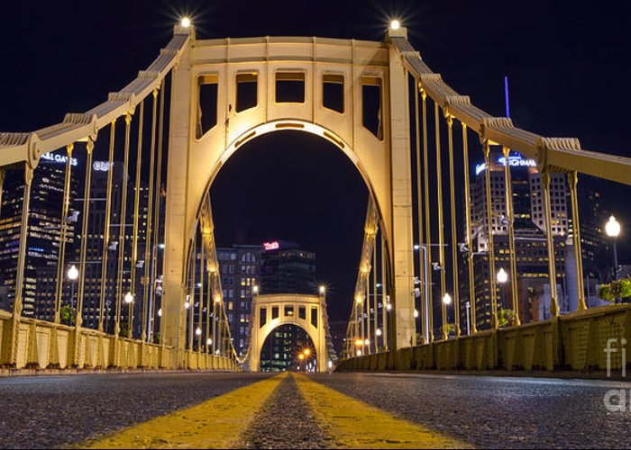 Pittsburgh Greeting Card featuring the photograph 0304 Roberto Clemente Bridge Pittsburgh by Steve Sturgill