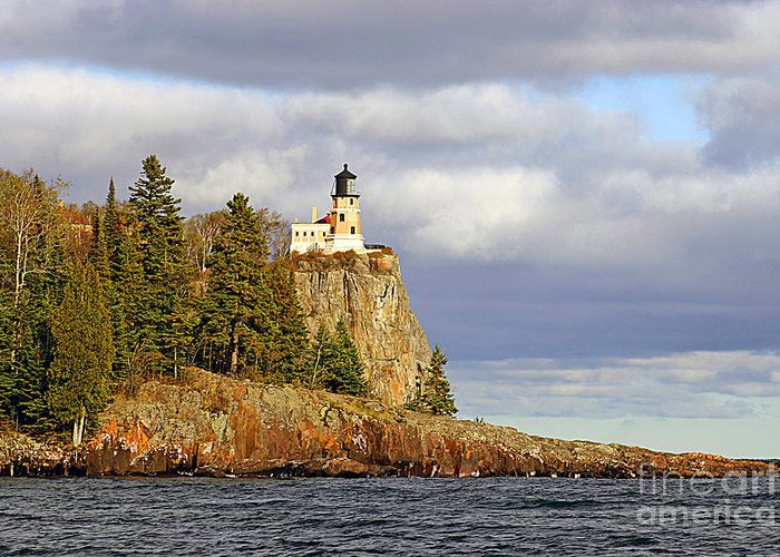 Split Greeting Card featuring the photograph 0376 Split Rock Lighthouse by Steve Sturgill