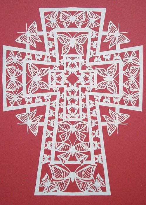 Beliefs Greeting Card featuring the mixed media 045 Butterfly-cross by Tong Steinle