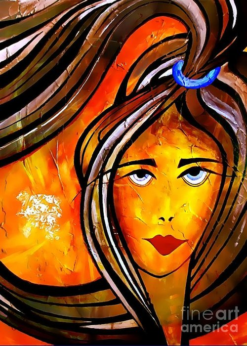 Woman Greeting Card featuring the digital art 053-13 by Marek Lutek