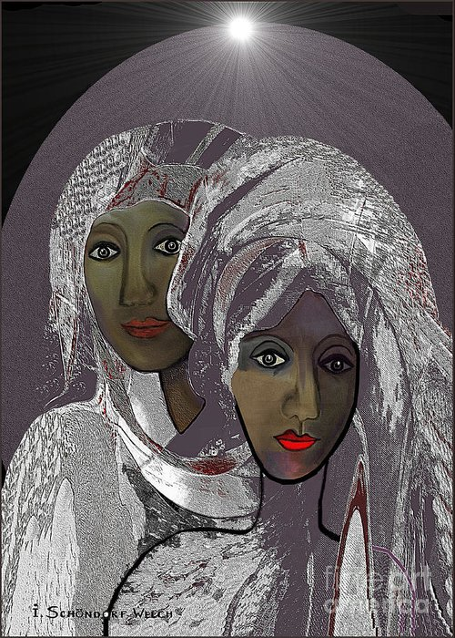 Woman Greeting Card featuring the digital art 065 - White Veiled Ladies  by Irmgard Schoendorf Welch