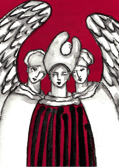 Angel Greeting Card featuring the painting Keepers No 5 by Milliande Demetriou