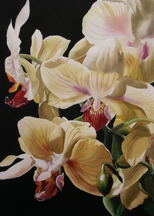 Orchid Greeting Card featuring the painting Yellow Orchids by Alfred Ng