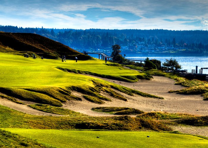 #16 At Chambers Bay Golf Course Location Of The 2015 U.s. Open Tournament Greeting Card featuring the photograph #16 At Chambers Bay Golf Course - Location Of The 2015 U.s. Open Tournament by David Patterson