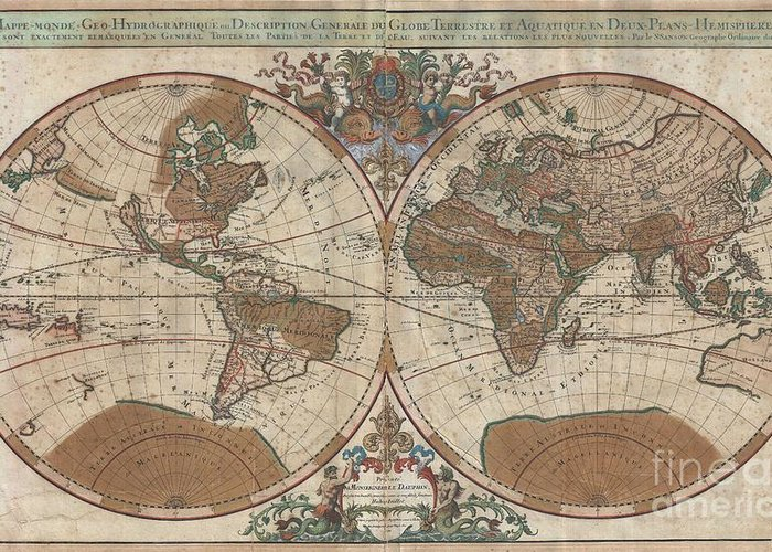 : An Extraordinary Map Of Monumental Proportions Greeting Card featuring the photograph 1691 Sanson Map Of The World On Hemisphere Projection by Paul Fearn