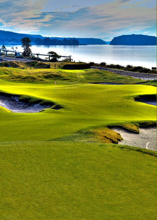 Chambers Bay Golf Course Greeting Card featuring the photograph #17 At Chambers Bay Golf Course - Location Of The 2015 U.s. Open Championship by David Patterson