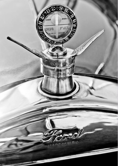 1923 Ford Model T Greeting Card featuring the photograph 1923 Ford Model T Hood Ornament by Jill Reger