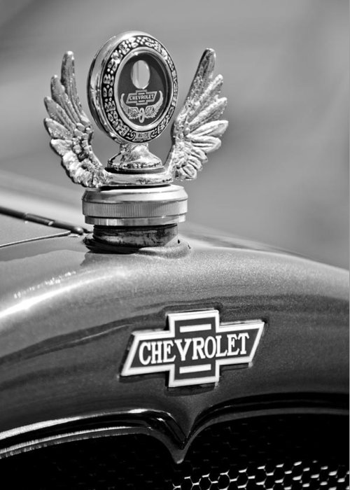 1928 Chevrolet Stake Bed Pickup Hood Ornament Greeting Card featuring the photograph 1928 Chevrolet Stake Bed Pickup Hood Ornament by Jill Reger
