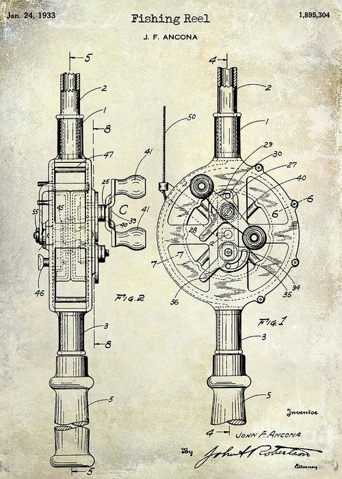 1933 Fishing Reel Patent Drawing Greeting Card For Sale By Jon Neidert