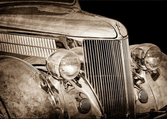 1936 Ford Stainless Steel Body Greeting Card featuring the photograph 1936 Ford - Stainless Steel Body by Jill Reger