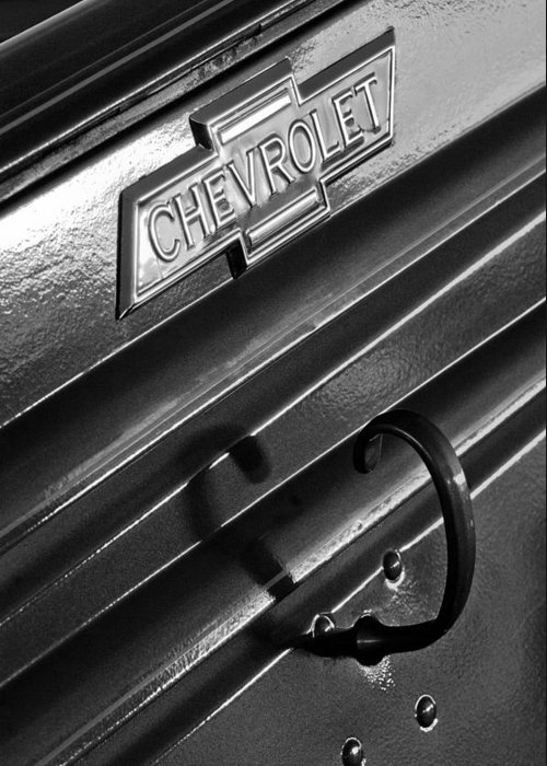 1937 Chevrolet Custom Pickup Emblem Greeting Card featuring the photograph 1937 Chevrolet Custom Pickup Emblem by Jill Reger