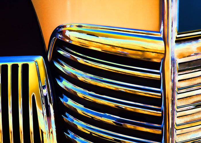1939 Greeting Card featuring the photograph 1939 Studebaker Champion Grille by Carol Leigh