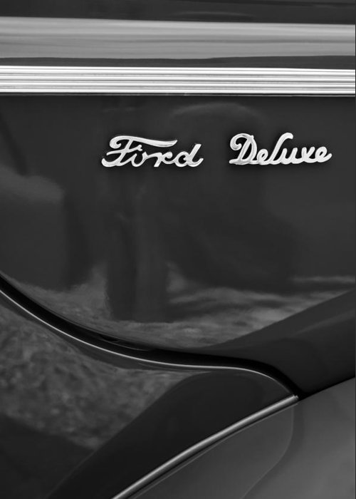 1940 Ford Deluxe Coupe Emblem Greeting Card featuring the photograph 1940 Ford Deluxe Coupe Emblem by Jill Reger
