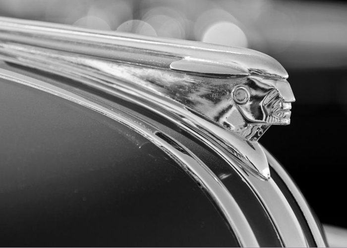 1948 Pontiac Streamliner Woodie Station Wagon Hood Ornament Greeting Card featuring the photograph 1948 Pontiac Streamliner Woodie Station Wagon Hood Ornament by Jill Reger
