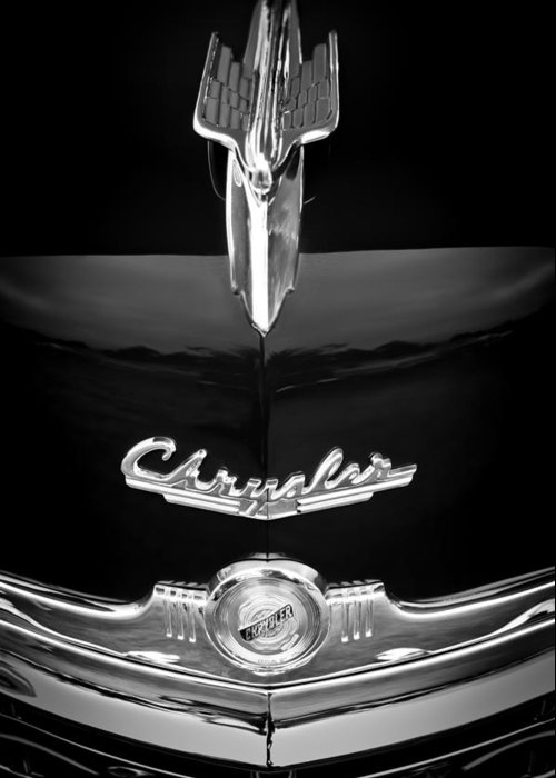 1949 Chrysler Town And Country Convertible Hood Ornament And Emblems Greeting Card featuring the photograph 1949 Chrysler Town And Country Convertible Hood Ornament And Emblems by Jill Reger