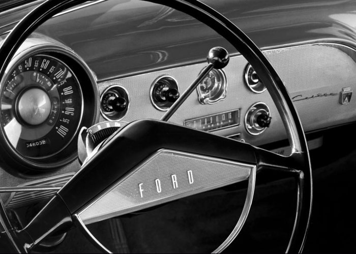 1951 Ford Crestliner Steering Wheel Greeting Card featuring the photograph 1951 Ford Crestliner Steering Wheel by Jill Reger