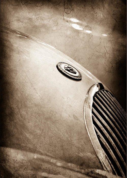 1951 Jaguar Grille Emblem Greeting Card featuring the photograph 1951 Jaguar Grille Emblem by Jill Reger