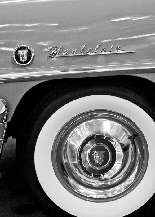 1951 Mercury Montclair Convertible Wheel Emblem Greeting Card featuring the photograph 1951 Mercury Montclair Convertible Wheel Emblem by Jill Reger