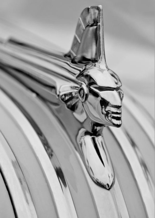 1951 Pontiac Streamliner Hood Ornament Greeting Card featuring the photograph 1951 Pontiac Streamliner Hood Ornament by Jill Reger