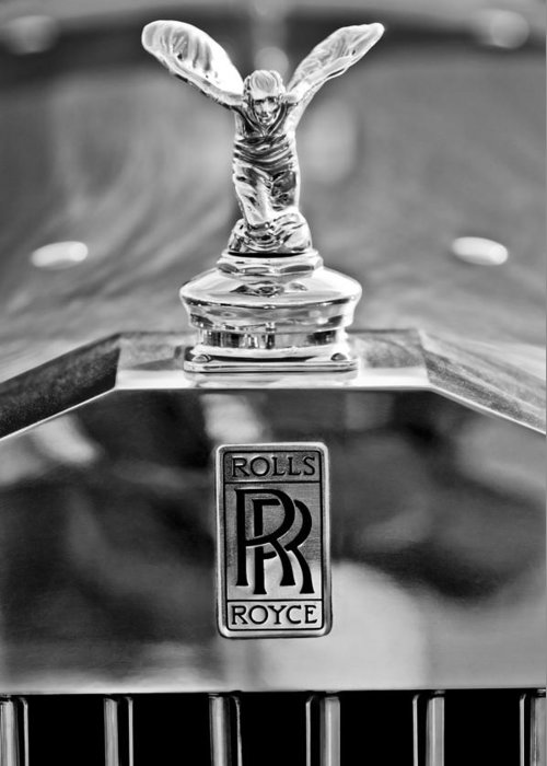 1952 Rolls-royce Hood Ornament Greeting Card featuring the photograph 1952 Rolls-royce Hood Ornament by Jill Reger