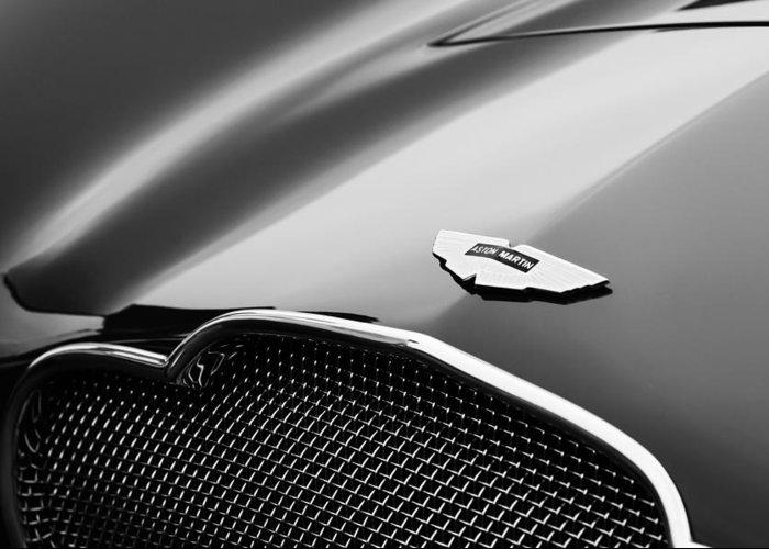 1953 Aston Martin Db2-4 Bertone Roadster Hood Emblem Greeting Card featuring the photograph 1953 Aston Martin Db2-4 Bertone Roadster Hood Emblem by Jill Reger