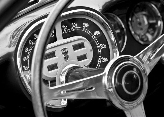 1953 Fiat 8v Ghia Supersonic Steering Wheel Greeting Card featuring the photograph 1953 Fiat 8v Ghia Supersonic Steering Wheel by Jill Reger
