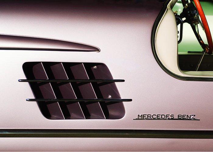 1955 Mercedes-benz Gullwing 300 Sl Emblem Greeting Card featuring the photograph 1955 Mercedes-benz Gullwing 300 Sl Emblem by Jill Reger