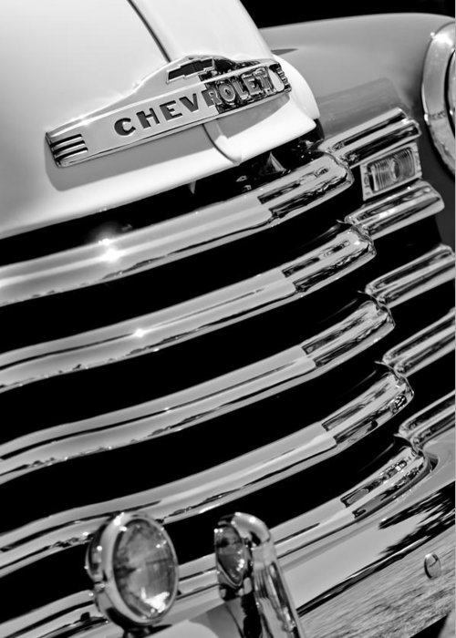 1956 Chevrolet 3100 Pickup Truck Grille Emblem Greeting Card featuring the photograph 1956 Chevrolet 3100 Pickup Truck Grille Emblem by Jill Reger