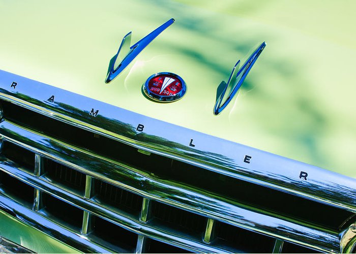 1956 Hudson Rambler Station Wagon Grille Emblem - Hood Ornament Greeting Card featuring the photograph 1956 Hudson Rambler Station Wagon Grille Emblem - Hood Ornament by Jill Reger