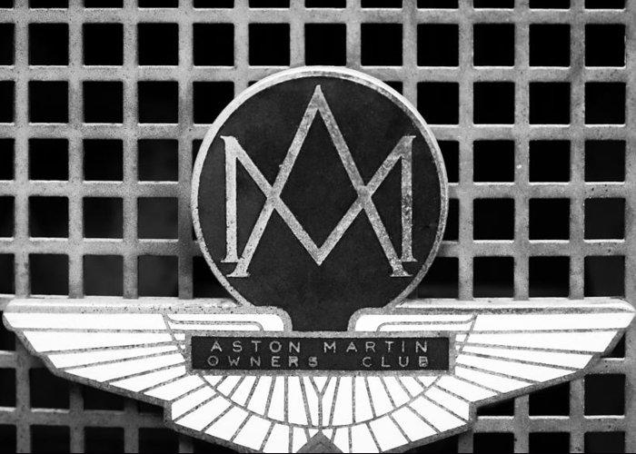 1957 Aston Martin Owner's Club Emblem Greeting Card featuring the photograph 1957 Aston Martin Owner's Club Emblem by Jill Reger