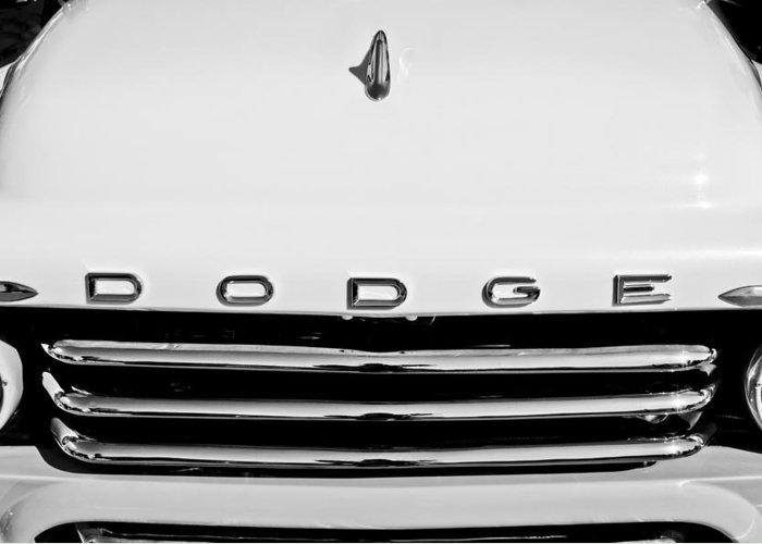 1958 Dodge Sweptside Truck Grille Greeting Card featuring the photograph 1958 Dodge Sweptside Truck Grille by Jill Reger