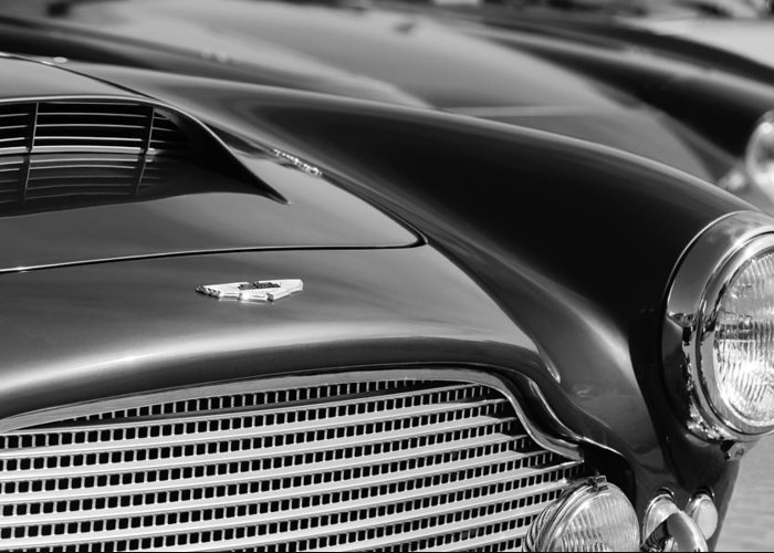 1960 Aston Martin Db4 Series Ii Grille - Hood Emblem Greeting Card featuring the photograph 1960 Aston Martin Db4 Series II Grille - Hood Emblem by Jill Reger