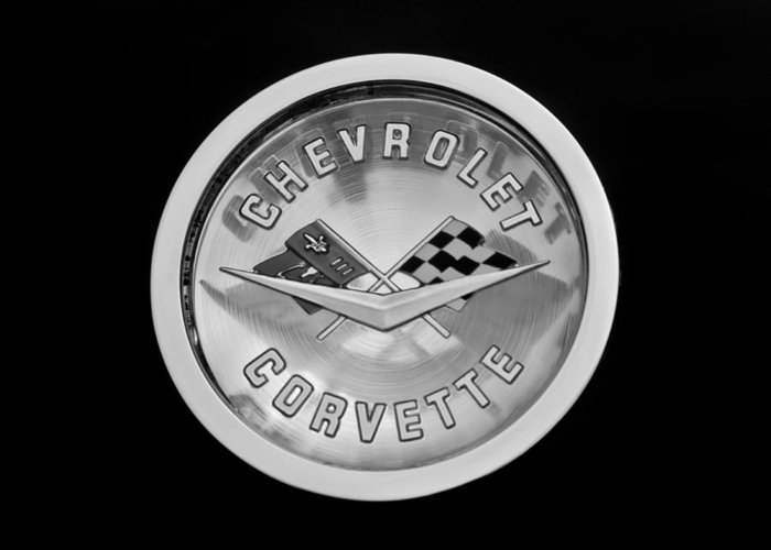 1960 Chevrolet Corvette Roadster Emblem Greeting Card featuring the photograph 1960 Chevrolet Corvette Roadster Emblem by Jill Reger