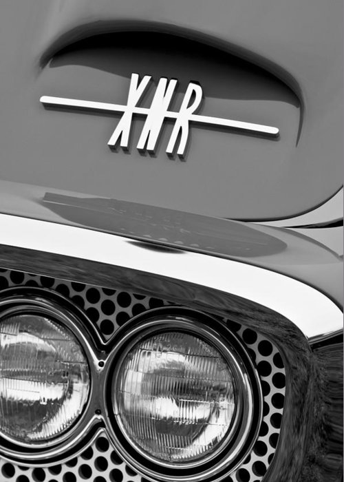 1960 Plymouth Xnr Ghia Roadster Grille Emblem Greeting Card featuring the photograph 1960 Plymouth Xnr Ghia Roadster Grille Emblem by Jill Reger