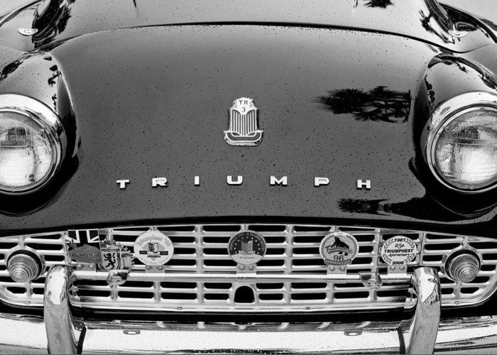 1960 Triumph Tr 3 Grille Emblems Greeting Card featuring the photograph 1960 Triumph Tr 3 Grille Emblems by Jill Reger