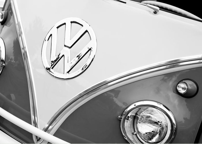 1960 Volkswagen Vw 23 Window Microbus Emblem Greeting Card featuring the photograph 1960 Volkswagen Vw 23 Window Microbus Emblem by Jill Reger
